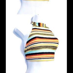 3/15- Aerie- High Halter Striped Bikini Top